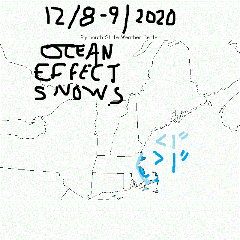 DEC 8-9th, 2020 Ocean Effect Snow Event Prediction Map